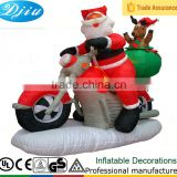 DJ-XT-47 christmas inflatable santa on motorbike air blown giant street decoration