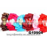 lady new design 3 folded layers 1.5'' grosgrain ribbon hair bow with 3 silk swirls