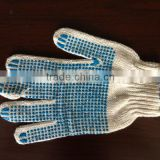 wholesale PVC glue dotted gloves, string knit pvc dot work gloves