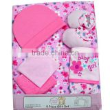 Fashion style 9pcs organic baby clothes gift set