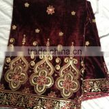 Ready goods of dark brown color velvet george lace fabric                                                                                         Most Popular