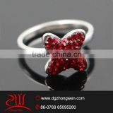 stainless steel jewelry hot time rings with pave setting crystals