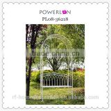 Outdoor White Iron Wedding garden arch with bench