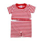 Wholesale 2016 baby boy clothes importing baby clothes from china red white strip cotton romper boy romper
