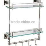 HJ-258 Rugger stainless steel glass shelf/Modern bathroom stainless steel glass shelf/Wall mounted stainless steel glass shelf