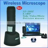 200 wireless bluetooth USB digital microscope for windows PC with measure pricision up 99%, pcb inspection microscope