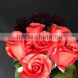 High quality artificial flowers wedding red 6 head rose bud bouquet for sale