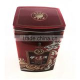 China tin box vendor empty transparent window large wine tin box