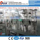 JR-BGF6-6-1 small scale craft beer filling machine for SUS304 bottle