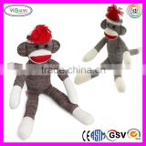 B045 Handmade Knitting Sock Monkey Doll Soft Stuffed Knitting Wool Doll