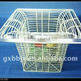 Square creamywhite metal wire storage stainless steel basket