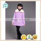 fashion Korean children long winter woolen dress overcoat for girls flower purple new coat design