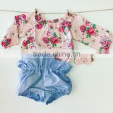 Floral Newborn Baby Romper Denim Shorts Outfit Clothing Set Kids Girl
