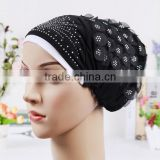 Wholesale-Women's Lady Girls Muslim Arab Decorative Head Wrap Headscarf Cap Islamic Hijab Turban