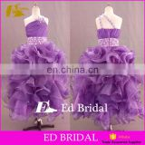 Custom Made Purple Organza Ball Gown One Shoulder Flower Girl Dress
