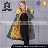 Hot sale top quality green military style apparels long fur clothing