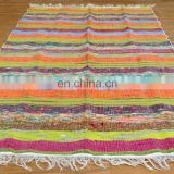 Indian Cotton Chindi Rug Vintage Multi Color Hand Woven Carpet