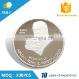 Newest fashion customized metal wedding anniversary souvenir coin