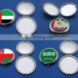 70mm custom Middle east country national flag printed metal compact cosmetic makeup mirror