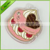 2013 wholesale acrylic cute cake shape with shiny glitter keychain