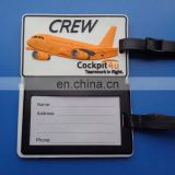 flight crew rubber silicone custom logo luggage tag