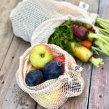 Set of 2 (l + m) natural, organic cotton shopping nets bags