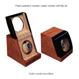 Luxury  Wooden Pattern Glossy Lacquered Wooden Single Watch Winder With Clear Glass Window Automatic Watch Winder