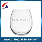 Promotional wholesale hand made clear stemless drinking glass cup/stemless wine glass for home/wedding