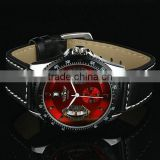 New Mens Red Dial Leather Strap Classic Design Self-Wind Up Mechanical Automatic Watch WM122