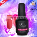 Guangzhou 15 ml organic sweet colors private label no base no top coat one step gel polish for nail art design