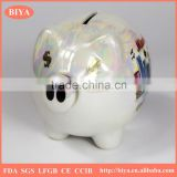 promotion ceramic pig coin bank custom design money saving box container coated colorful pearl glazed for souvenir