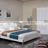 Popular White Adult Bedroom Lastest Double Bed Designs Furniture Sets (SZ-BF075)