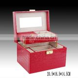 2015NEW Faux Crocodile Jewelry Box JEWEL faux leather jewellery box,standing mirror jewelry box,jewelry packing box for home use