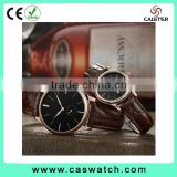 2016 classic design concise couple watch, crocodile texture leather watch, fancy couple watch with a small eye