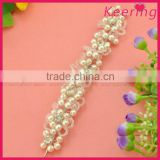 bulk fashion white pearl bead ribbon headband with attached hair WHD-016                                                                         Quality Choice