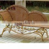antique elegant european french style rattan chaise lounge