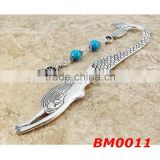 2015 yiwu factory anchor charm turquoise blue howlite gemstones beaded mermaid metal silver bookmark price