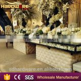 iron frame fabric base glass top square wedding banquet table