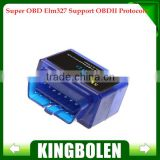 2014 Factory Price New Blue Small ELM327 Bluetooth OBD2 / OBDII ELM 327 V1.5 Auto Diagnostic Scanner Tool FREE SHIPPING