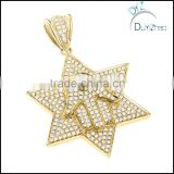 hip hop brass gold star pendant necklace