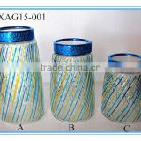 2015 new style High Quality Decorative cylinder glass spaghetti storage jar with stainless steel lid