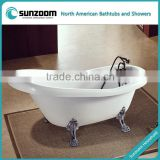 SUNZOOM UPC/cUPC certified claw foot tub, sex free standing hot tub, bath tub with shower