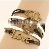 Combined Bracelet, Zinc Alloy, handcuff & clock & love, with PU & Wax Cord, antique gold color pla