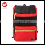 Black and orange contrast color school backpack stylish travel back zipper korea backpack