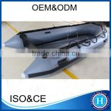 Dark grey inflatable rubber boat HLM360 with plywood floor