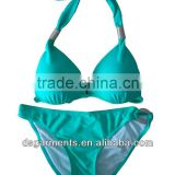 USA Halter top bandeau metallic mint swimwear bikini push up