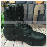 Black leather fashion police tactical combat delta military boots