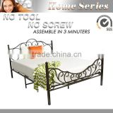 Double Antique brass self-lock slat metal bed Q007
