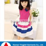 High quality cheap price children clothes wholesale kids cotton frocks design colorful short sleeve baby girls dress
