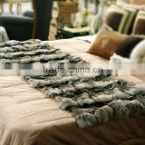 Deluxe Home Textile Morden Fashion Pieced Fox Head Fur Blanket/Carpet Real Animal Skin Sheet